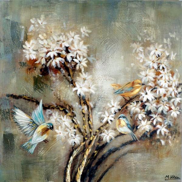 Die Vogelhochzeit I - Ölgemälde auf Leinwand - gemaltes Vogelbild