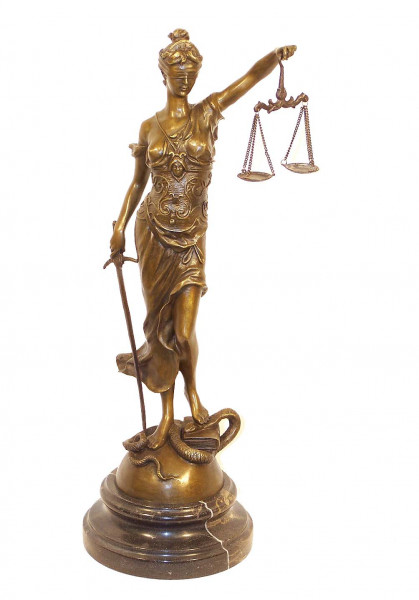 Justitia Bronzefigur Skulptur in groß mit Schwert + Waage signiert