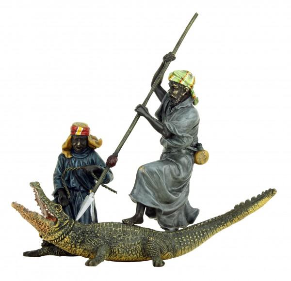 Handbemalte Wiener Bronze - Araber / Krokodiljäger - Bergmann Wien