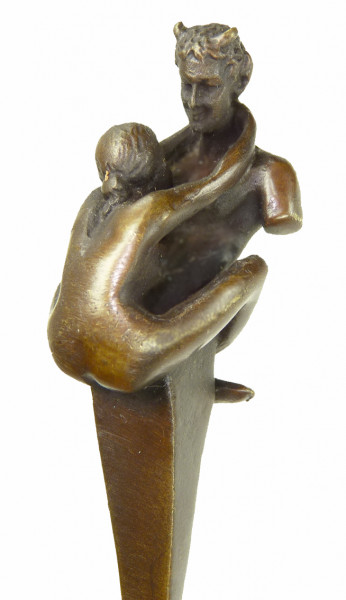 Erotik Wiener Bronze - Brieföffner - Faun / Satyr mit Jungfer