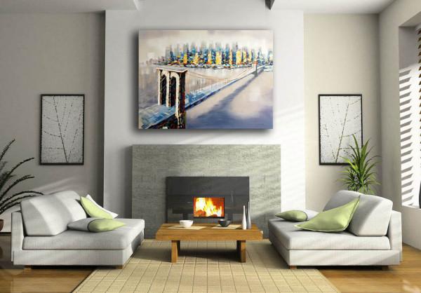 Modernes Ölbild - New Yorker Brooklyn Bridge - sign. - M. Klein