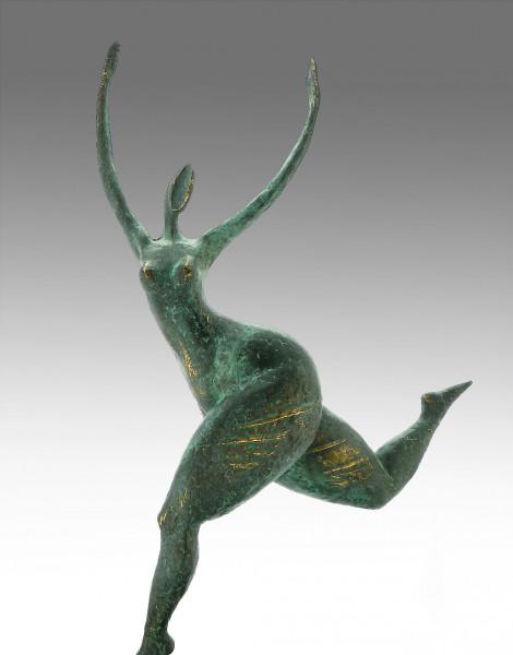 Moderne Kunst Bronze laufender abstrakter Akt signiert Milo