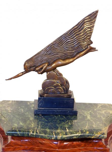Art Deco Bronze (Der Komet) auf Marmor signiert Guiraud Riviére