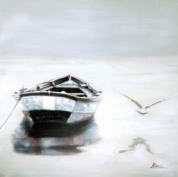 Ostsee-Glück II – Meerbild – Martin Klein – Boot und Möwe