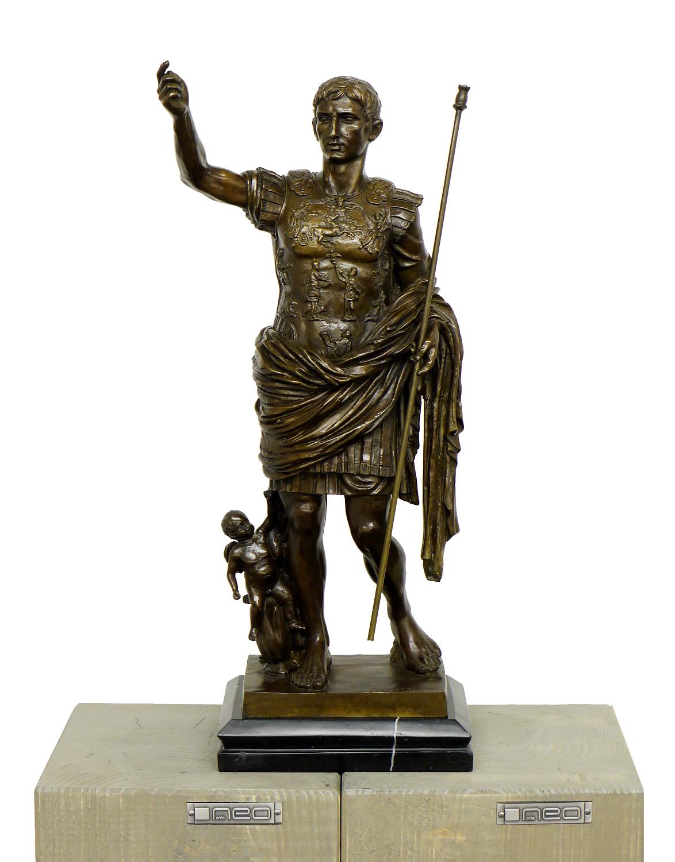 Romische Bronzefigur Kaiser Augustus Signiert Augustus