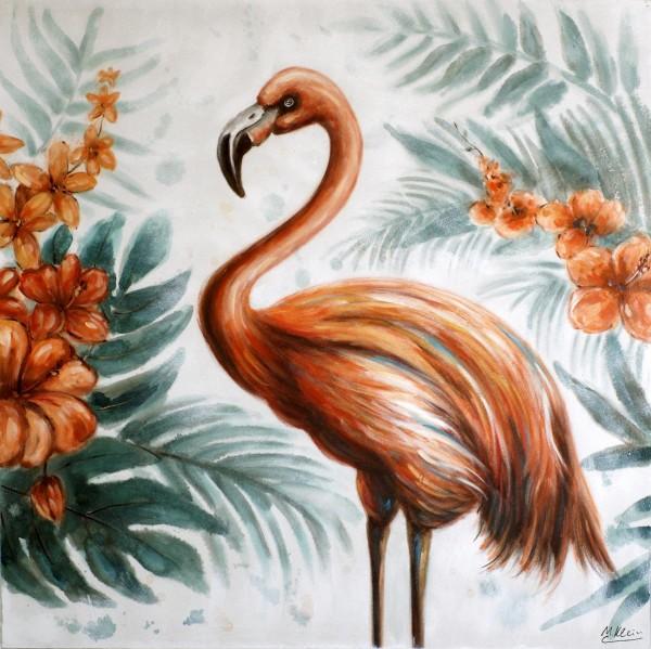 Flamingo Show - Modernes Ölgemälde - Flamingo Bild auf Leinwand