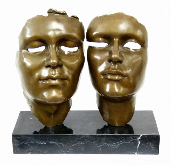 Modern Art Bronzeskulptur - signiert Miguel Guía - Masken