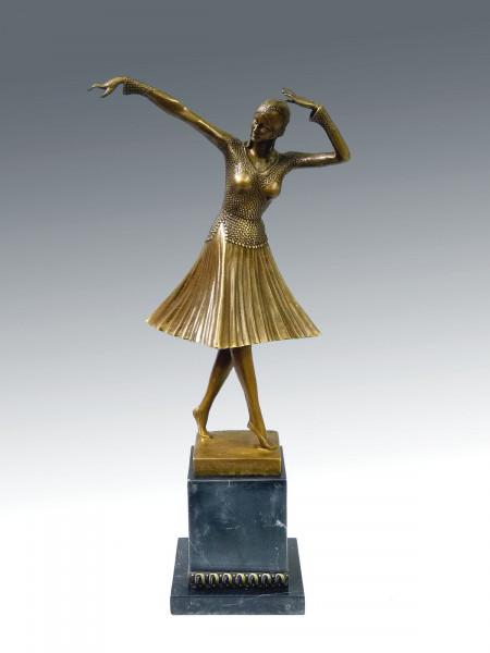 Art Deco Bronze Tänzerin auf Marmorsockel von Chiparus (Miro)