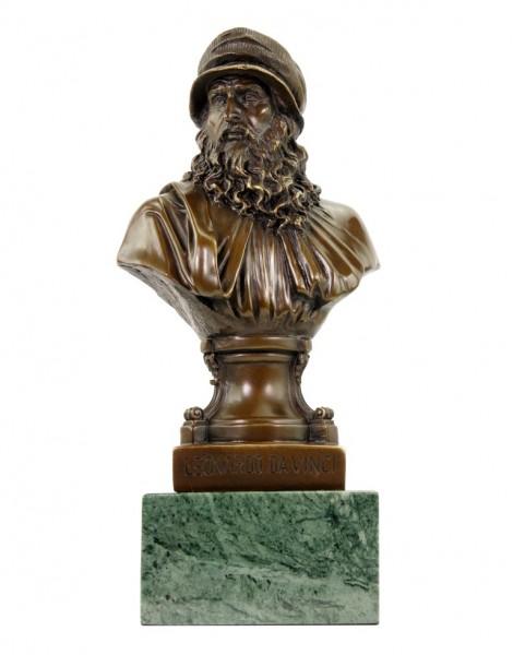 Leonardo da Vinci Büste - Limitierte Bronzestatue - signiert Milo