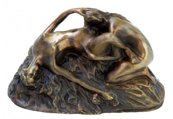 Erotik Wiener Bronze Lesbische Frauen auf Fels signiert Lambeaux