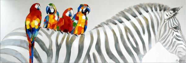 Zebra with Friends - Martin Klein - Gemaltes Zebrabild auf Leinwand