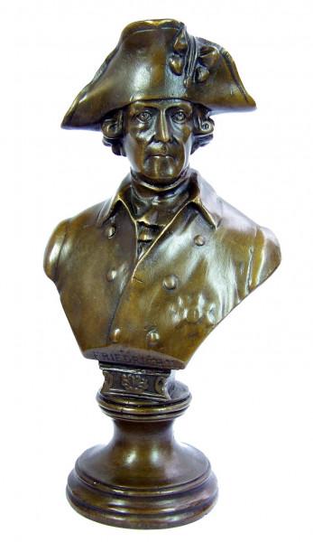 Friedrich II. der Große - Fritz Bronze Büste mit Kleinhut sign.