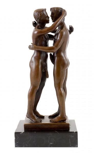 Gay Bronze - Homoerotisches Spiel zweier Männer - sign. M. Nick