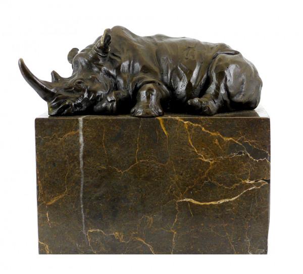 Tierfigur aus Bronze - Ruhendes Nashorn - signiert Milo