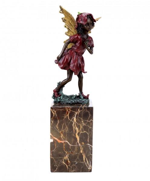 Elfen Figur - Blumenelfe - Bronze auf Marmorsockel - Jugendstil - Milo