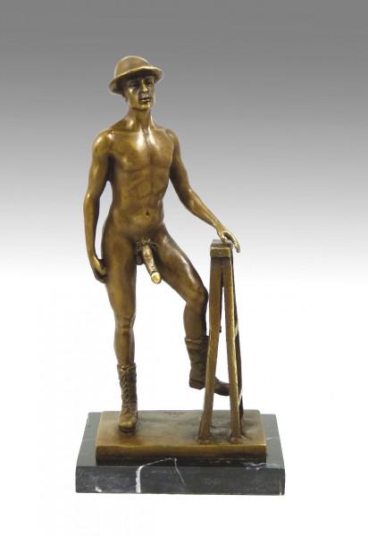 Erotische Bronze- Nackter Mann mit Hut u. Stiefeln, sign. M.Nick