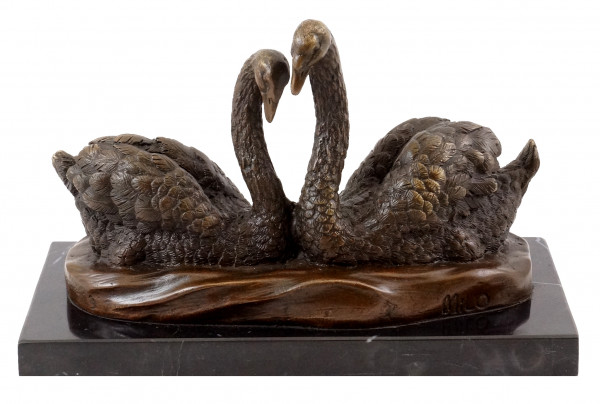 Tierfigur aus echter Bronze - Schwanenpärchen - sign. Milo