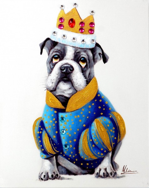Bulldog King – Witziges Hundebild – Martin Klein – Tiergemälde - Bulldogge