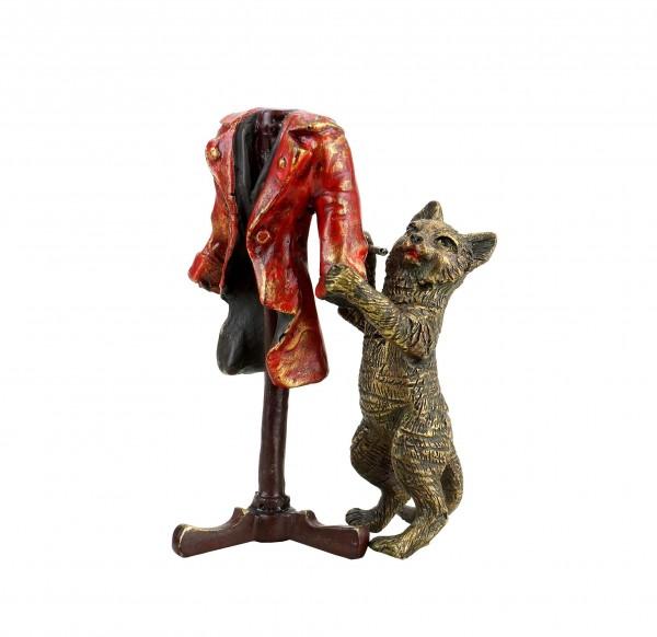 Des Katers neue Kleider - handbemalte Wiener Bronze Katze - gestempelt