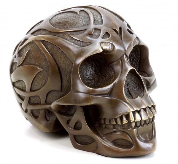 Tribal Skull - Tattoo Schädel - Totenkopf Bronzefigur - Stevens
