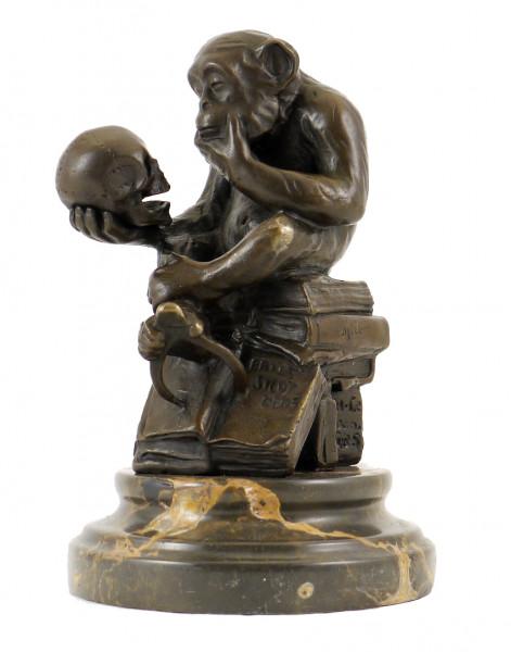 Bronzefigur - Affe mit Schädel - Milo (Wolfgang Hugo Rheinhold)