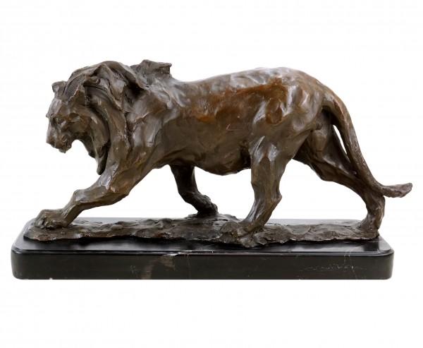 Limitierte Tierfigur aus Bronze - Löwe im Laufen - signiert Bugatti