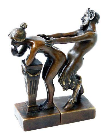 Erotik Wiener Bronze Faun / Satyr m. Jungfrau, 2teilig Bergmann