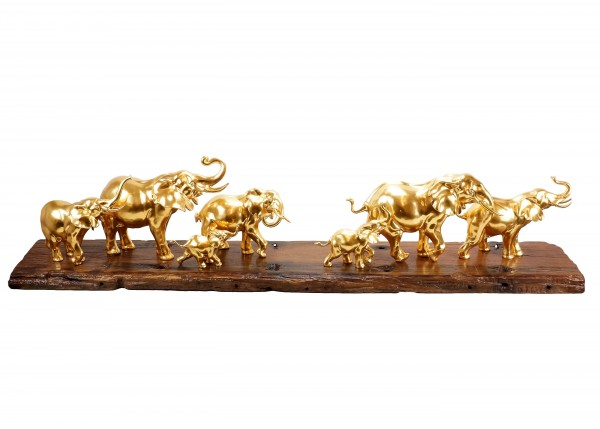 Moderne Kunst - Vergoldete Elefantenherde von Milo - Elefantenfigur