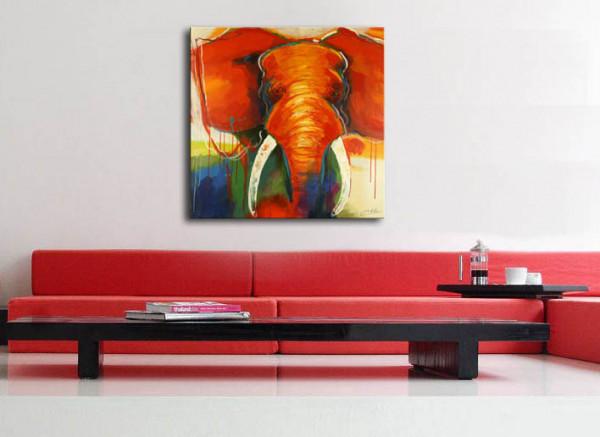 Elefant auf Leinwand - Bunter Riese - sign. Martin Klein