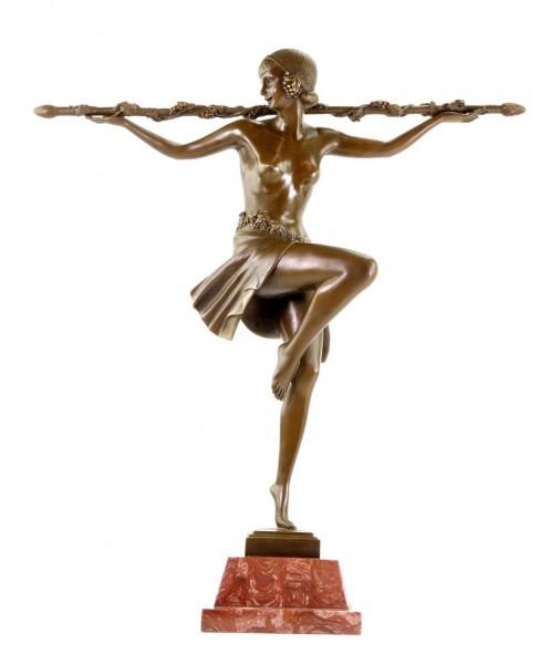 Art Deco Bronze Statue - Bacchantische Tänzerin mit Thyrsosstab