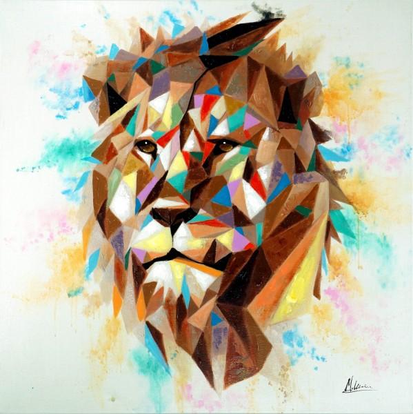 Kubistischer Löwenkopf – Modernes Gemälde – Martin Klein – Löwenbild