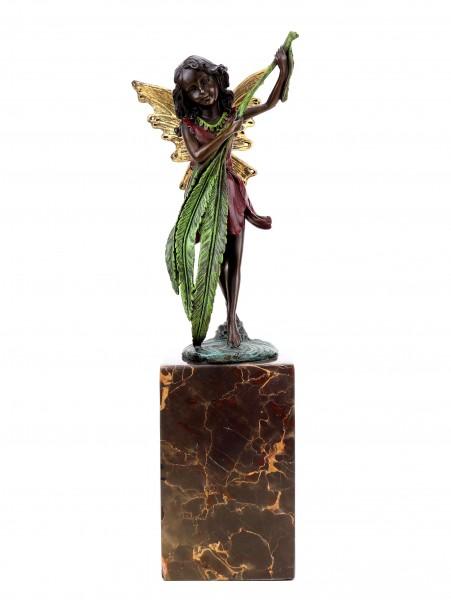 Elfen Figur aus Bronze - Elfe mit Farnblatt - Jugendstil - sign. Milo