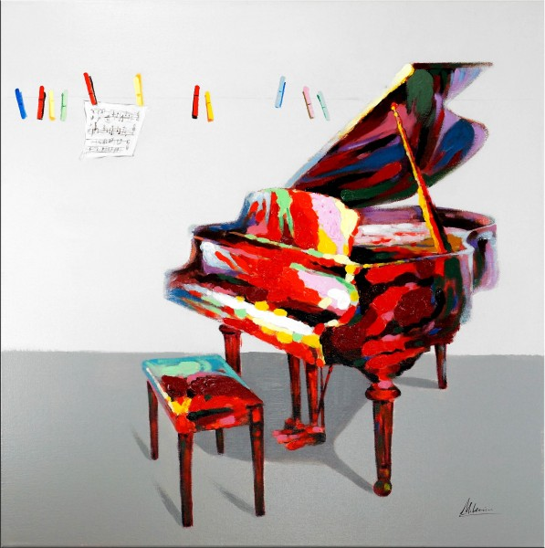 Colours of Music – Ölbild mit Piano – Martin Klein - Wandbild