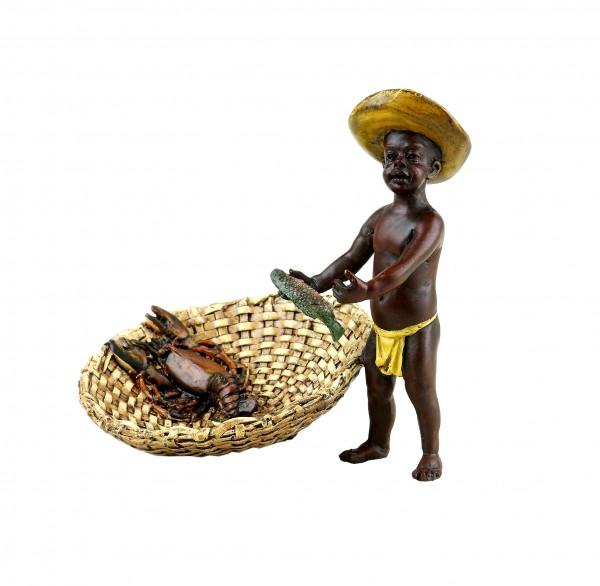 Wiener Bronze Figur - Mohr beim Fischen - handbemalt - gestempelt
