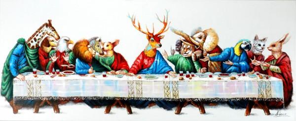 Tierisches Abendmahl – Satirisches Gemälde – Martin Klein – Tierbild