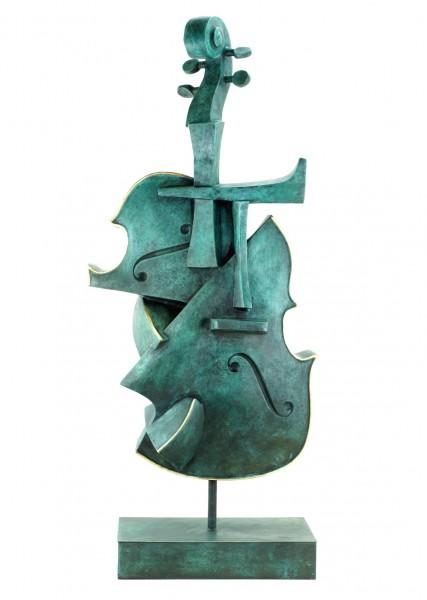 Große Kubistische Bronze Geige - Limitierte Bronzeskulptur von Martin Klein
