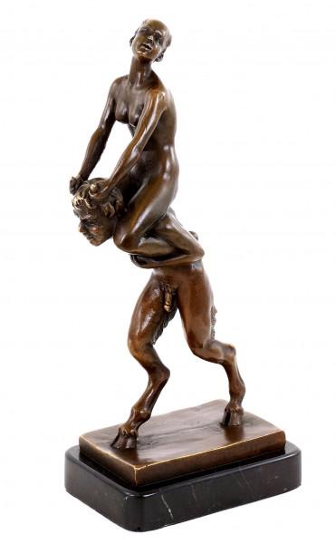 Jungfer reitet Faun - Wiener Bronze - Bergmann