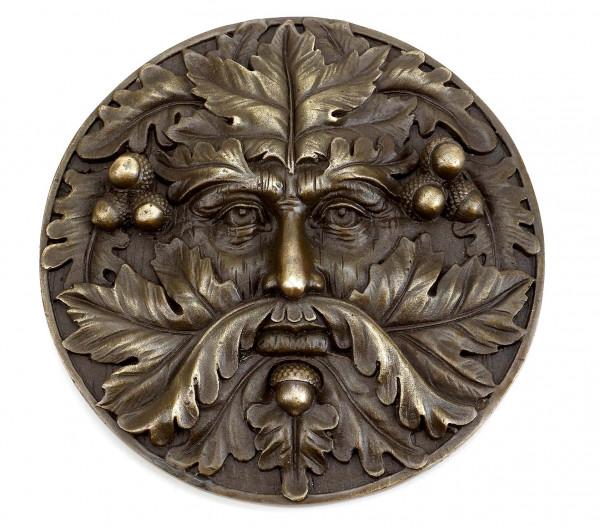 Wandrelief aus Bronze - Baumgeist - Green Man - Waldgeist - Milo