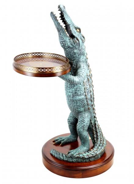 Art déco - Krokodil Tisch - A. Stevens - Whiskey Tisch - Krokodilfigur