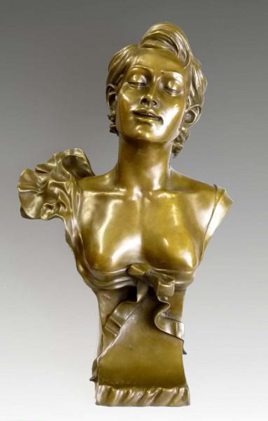 Große Jugendstil-Bronzebüste - Junge Frau - nach Auguste Moreau