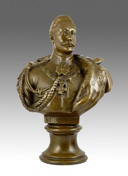 Große Kaiser Wilhelm II. Bronzebüste signiert Gladenbeck