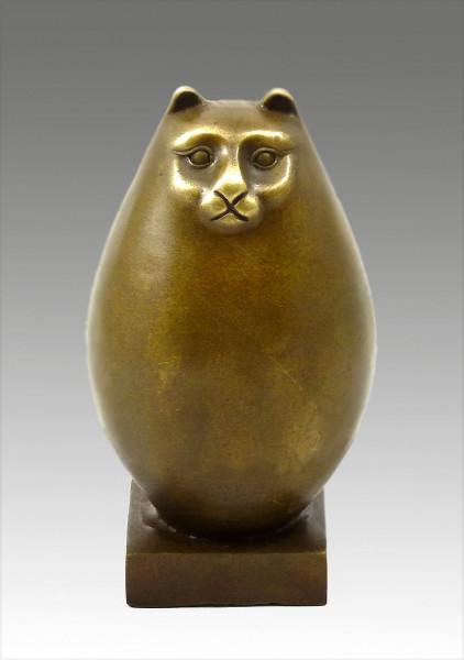 Moderne Kunst Skulptur - Dicke Bronze Katze - signiert Botero