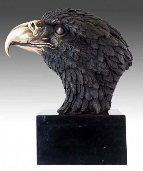 XXL Bronze Tierfigur - Seeadler auf Marmor - sign. Milo