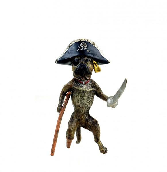 Wiener Bronze Hund - Mops als Pirat - handbemalt - witzige Hundefigur