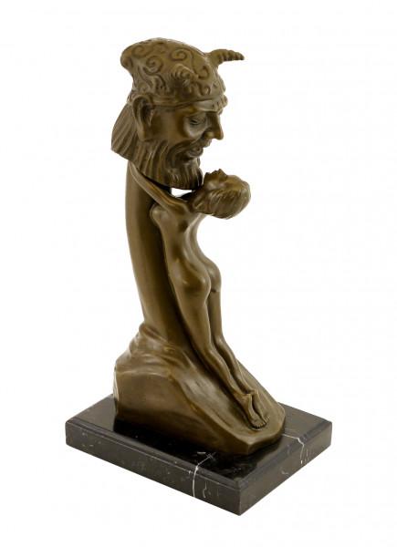 Zweiteilige Erotik-Bronze - Phallus anbetende Frau