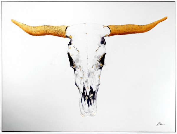 Exklusiver Bullenschädel – Acrylbild mit Gold – Martin Klein