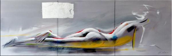 Erotische Akt Silhouette auf Leinwand - sign. Martin Klein