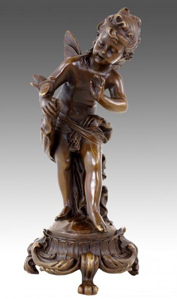 Jugendstil Bronze - Elfe mit Vögeln - sign. Moreau