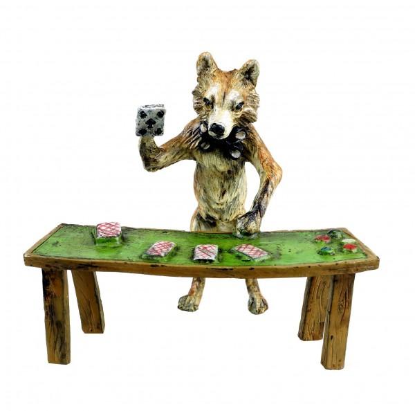 Wiener Bronze - Fuchs Figur - Kartenspieler - handbemalt - gestempelt