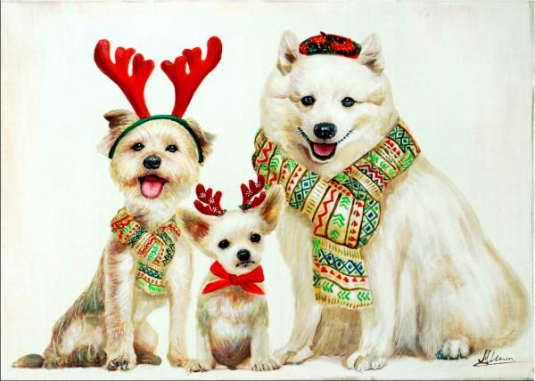 Christmas Dogs – Wandbild – Martin Klein - Weihnachtsdeko